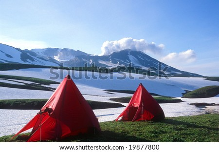 Campsite under the active volcano Mutnovsky, Kamchatka