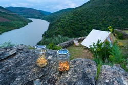 Campsite with glamour nearby Douro river in Côa Valley in northern Portugal of Europe