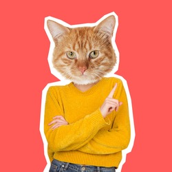 Can be angry. Cat's head on female body pointing at side. Modern design, contemporary art collage. Inspiration, idea, trendy urban magazine style. Negative space to insert your text or ad.