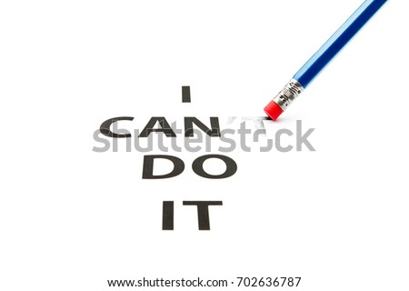 Can do it. Concept of self belief, motivation and positive attitude. I can do it is written on white paper. Challenge concept. - Shutterstock ID 702636787