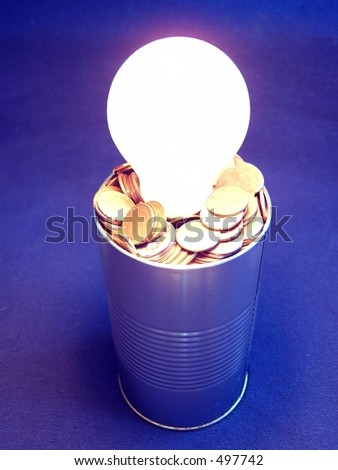 Can fill with cents and bulb turn on / Lata llena de centavos y foco