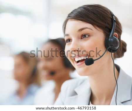 Can I help you Closeup of a female customer service representative