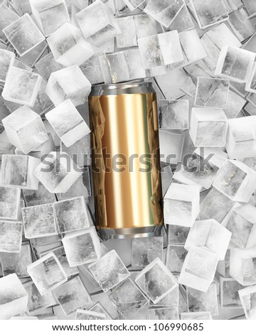 Can of Beer in Ice Cubes