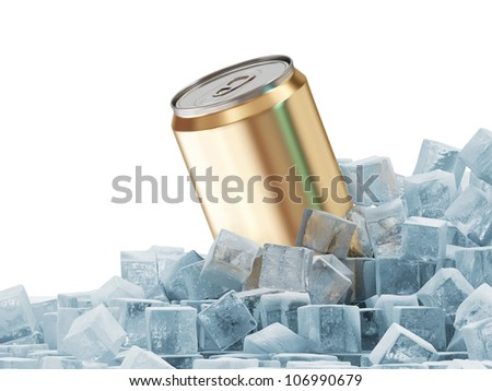 Can of Beer in Ice Cubes isolated on white background