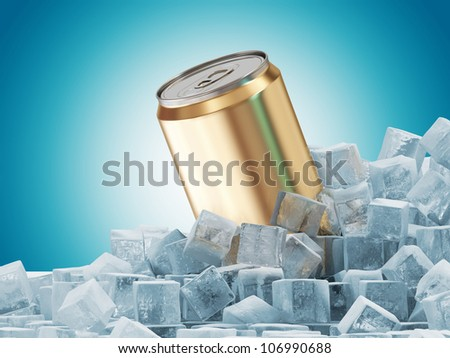 Can of Beer in Ice Cubes on blue background - stock photo