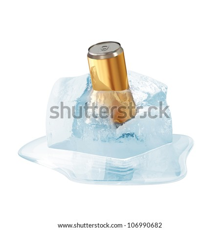 Can of Beer in Melting Ice Cube isolated on white background