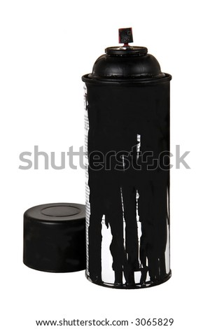 can of black spray paint with lid on white background