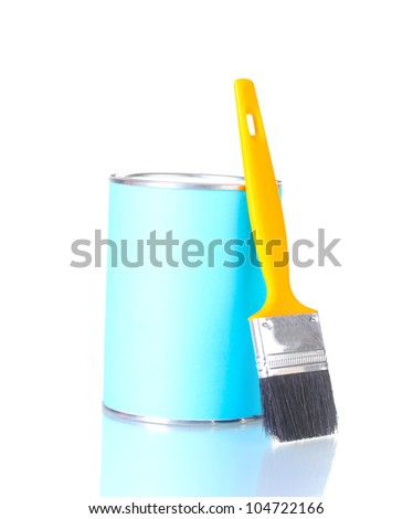 Can of paint with paintbrush isolated on white close-up