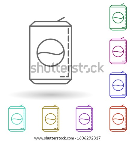 Can of soda dusk multi color icon. Simple thin line, outlineillustration of drinks & beverages icons for ui and ux, website or mobile application