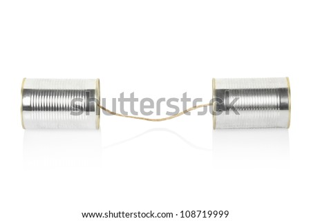 Can telephone isolated on white, clipping path included