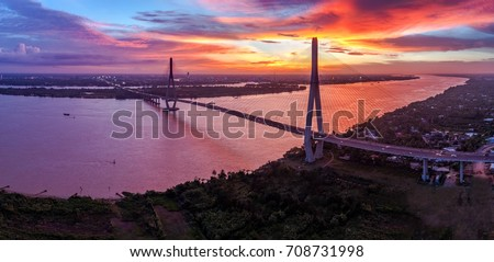 Can Tho bridge, Can Tho city, Vietnam, aerial view. Can Tho bridge is famous bridge in mekong delta, Vietnam . Best royalty free stock image,  high resolution