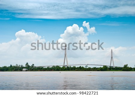 CAN THO, VIETNAM-AUG 27: the Can Tho Bridge  in Can Tho, Vietnam on August 27, 2010. The bridge is 2.75 kilometers long and is currently the longest main span cable-stayed bridge in Southeast Asia.