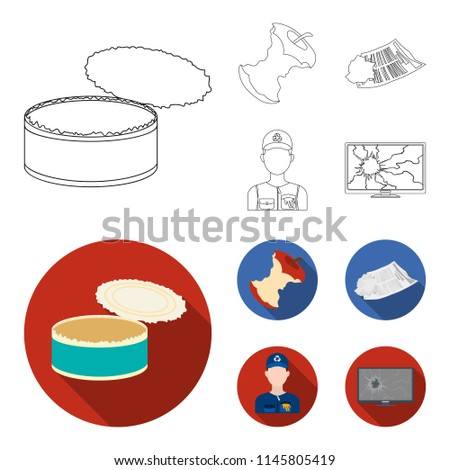 Can used used pot, apple stub, old dirty and wrinkled newspaper, the man who takes out the garbage.Garbage and trash set collection icons in outline,flat style bitmap symbol stock illustration web.