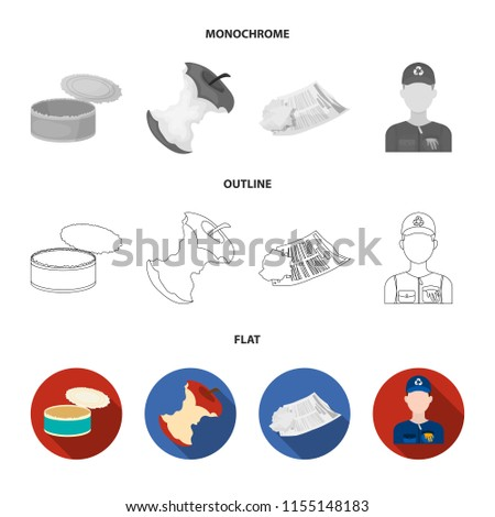 Can used used pot, apple stub, old dirty and wrinkled newspaper, the man who takes out the garbage.Garbage and trash set collection icons in flat,outline,monochrome style bitmap symbol stock