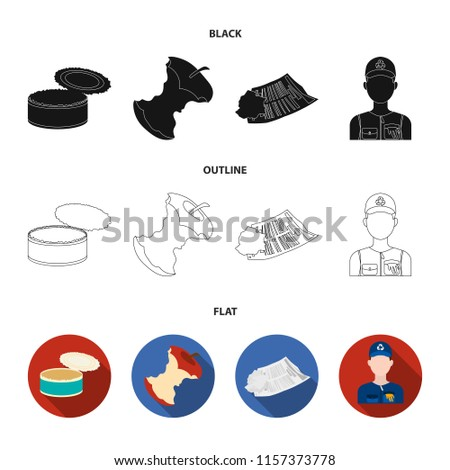Can used used pot, apple stub, old dirty and wrinkled newspaper, the man who takes out the garbage.Garbage and trash set collection icons in black,flat,outline style bitmap symbol stock illustration