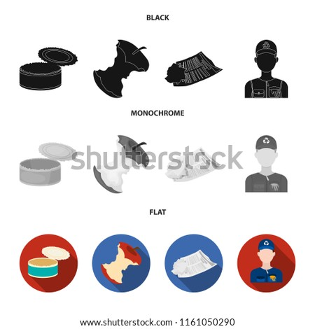 Can used used pot, apple stub, old dirty and wrinkled newspaper, the man who takes out the garbage.Garbage and trash set collection icons in black, flat, monochrome style bitmap symbol stock