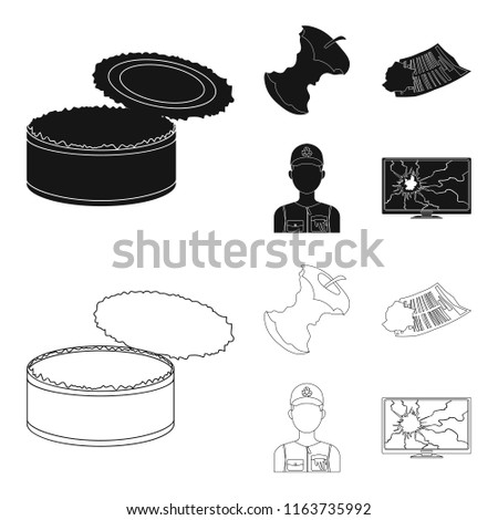 Can used used pot, apple stub, old dirty and wrinkled newspaper, the man who takes out the garbage.Garbage and trash set collection icons in black,outline style bitmap symbol stock illustration web.