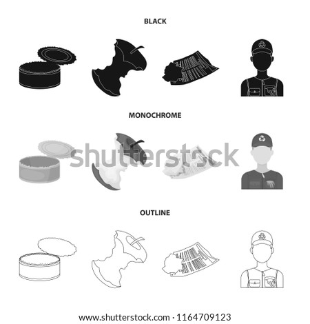 Can used used pot, apple stub, old dirty and wrinkled newspaper, the man who takes out the garbage.Garbage and trash set collection icons in black,monochrome,outline style bitmap symbol stock