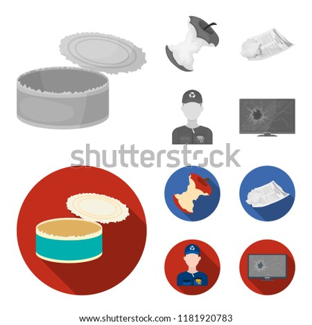 Can used used pot, apple stub, old dirty and wrinkled newspaper, the man who takes out the garbage.Garbage and trash set collection icons in monochrome,flat style bitmap symbol stock illustration web.