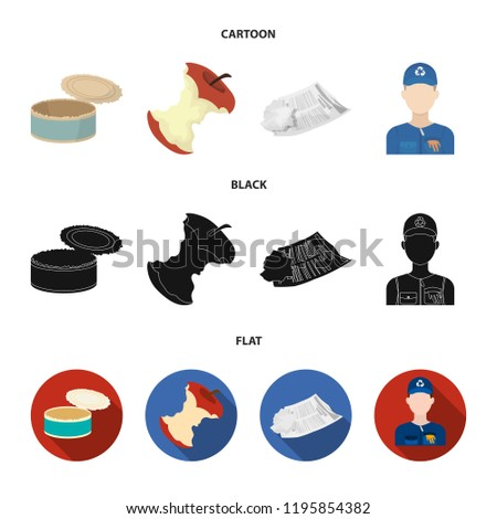 Can used used pot, apple stub, old dirty and wrinkled newspaper, the man who takes out the garbage.Garbage and trash set collection icons in cartoon,black,flat style bitmap symbol stock illustration