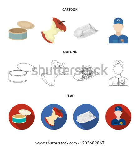 Can used used pot, apple stub, old dirty and wrinkled newspaper, the man who takes out the garbage.Garbage and trash set collection icons in cartoon,outline,flat style bitmap symbol stock illustration