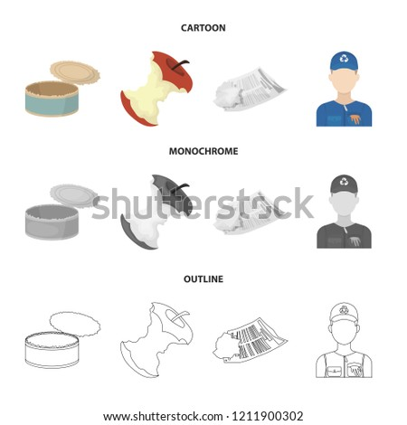 Can used used pot, apple stub, old dirty and wrinkled newspaper, the man who takes out the garbage.Garbage and trash set collection icons in cartoon,outline,monochrome style bitmap symbol stock