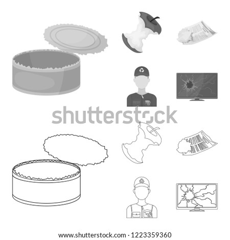 Can used used pot, apple stub, old dirty and wrinkled newspaper, the man who takes out the garbage.Garbage and trash set collection icons in outline,monochrome style bitmap symbol stock illustration