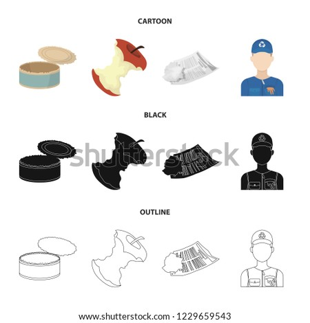 Can used used pot, apple stub, old dirty and wrinkled newspaper, the man who takes out the garbage.Garbage and trash set collection icons in cartoon,black,outline style bitmap symbol stock