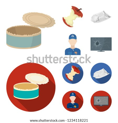 Can used used pot, apple stub, old dirty and wrinkled newspaper, the man who takes out the garbage.Garbage and trash set collection icons in cartoon,flat style bitmap symbol stock illustration web.