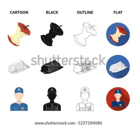 Can used used pot, apple stub, old dirty and wrinkled newspaper, the man who takes out the garbage.Garbage and trash set collection icons in cartoon,black,outline,flat style bitmap symbol stock