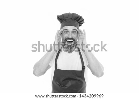 Can you hear me. Bearded mature man in chef hat and apron. Senior cook with beard and moustache wearing bib apron. Mature chief cook in red cooking apron. Home cooking. #1434209969