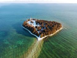 Cana Island in Door County Wisconsin in Winter
