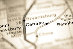 Canaan. Indiana. USA on a geography map