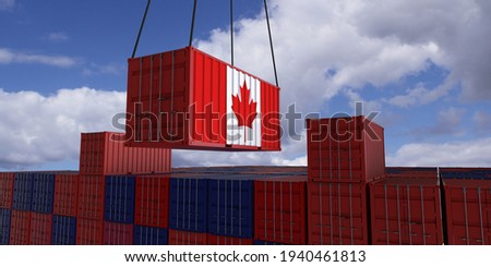 Canada A freight container with the canadian flag hangs in front of many blue and red stacked freight containers - concept trade - import and export - 3d illustration  Photo stock ©