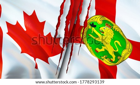 Canada and Alderney flags with scar concept. Waving flag,3D rendering. Canada and Alderney conflict concept. Canada Alderney relations concept. flag of Canada and Alderney crisis,war, attack concept