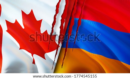 Canada and Armenia flags with scar concept. Waving flag,3D rendering. Canada and Armenia conflict concept. Canada Armenia relations concept. flag of Canada and Armenia crisis,war, attack concept