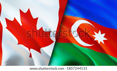 Canada and Azerbaijan flags. 3D Waving flag design. Canada Azerbaijan flag, picture, wallpaper. Canada vs Azerbaijan image,3D rendering. Canada Azerbaijan relations alliance and Trade,travel,tourism