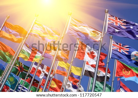 Canada and British Commonwealth  and world national flags  is flying