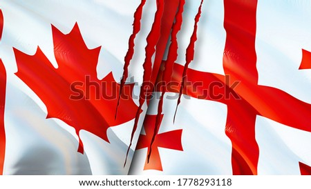 Canada and Georgia flags with scar concept. Waving flag,3D rendering. Canada and Georgia conflict concept. Canada Georgia relations concept. flag of Canada and Georgia crisis,war, attack concept