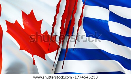 Canada and Greece flags with scar concept. Waving flag,3D rendering. Canada and Greece conflict concept. Canada Greece relations concept. flag of Canada and Greece crisis,war, attack concept