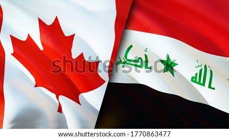 Canada and Iraq flags. 3D Waving flag design. Canada Iraq flag, picture, wallpaper. Canada vs Iraq image,3D rendering. Canada Iraq relations alliance and Trade,travel,tourism concept