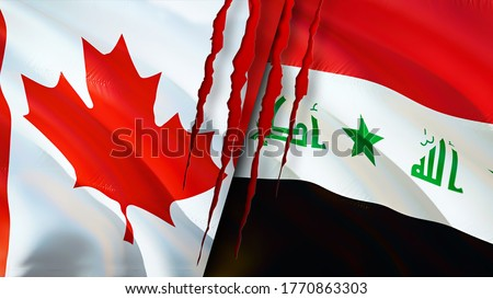 Canada and Iraq flags with scar concept. Waving flag,3D rendering. Canada and Iraq conflict concept. Canada Iraq relations concept. flag of Canada and Iraq crisis,war, attack concept