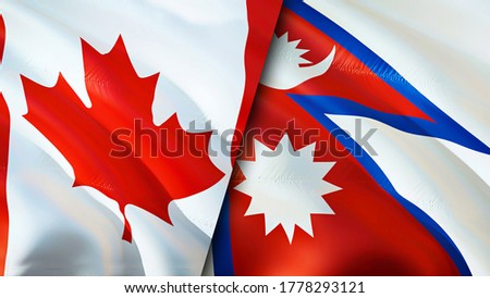 Canada and Nepal flags. 3D Waving flag design. Canada Nepal flag, picture, wallpaper. Canada vs Nepal image,3D rendering. Canada Nepal relations alliance and Trade,travel,tourism concept