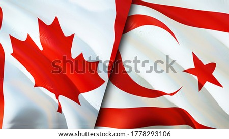 Canada and Northern Cyprus flags. 3D Waving flag design. Canada Northern Cyprus flag, picture, wallpaper. Canada vs Northern Cyprus image,3D rendering. Canada Northern Cyprus relations alliance and