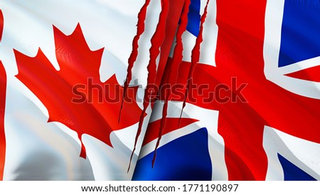 Canada and United Kingdom flags with scar concept. Waving flag,3D rendering. Canada and United Kingdom conflict concept. Canada United Kingdom relations concept. flag of Canada and United Kingdom