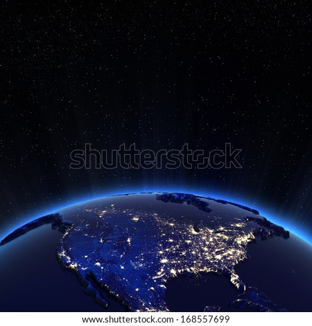 Canada and USA city lights at night. Elements of this image furnished by NASA