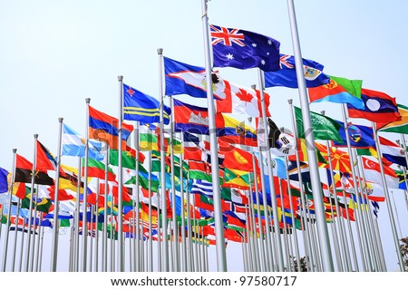 Canada Brazil British Commonwealth and world national flags is flying Stockfoto ©