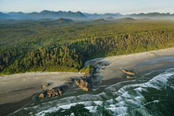 Canada, British Columbia. Pacific Rim National Park, aerial view.