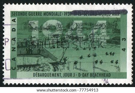 CANADA - CIRCA 1994: A stamp printed by Canada, shows D-Day beachhead, circa 1994