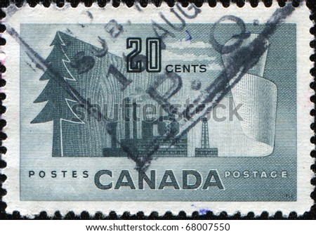 CANADA - CIRCA 1952: A stamp printed in Canada devoted Pulp and Paper Industry, circa 1952